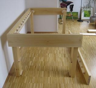 Tischlerei Sebastian Schramm - Kleines Hochbett mit Schüben, Aufbau